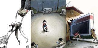 Výstižné karikatúry kritizujúce dnešný svet. Na zamyslenie!