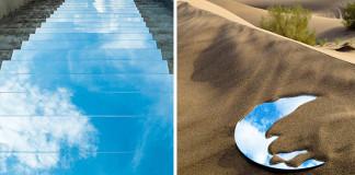 Umelkyňa vytvorila v púšti zrkadlové jazierka, aby upozornila na nedostatok vody